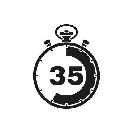 El icono de cronómetro de 35 segundos, minutos. Reloj y reloj, temporizador, símbolo de cuenta atrás. UI. Web. . Firmar. Diseño plano. Aplicación Vector stock