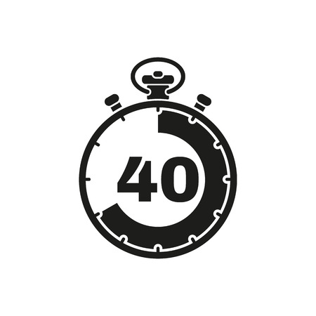The 40 seconds, minutes stopwatch icon. Clock and watch, timer, countdown symbol. UI. Web. . Sign. Flat design. App. Stock vector