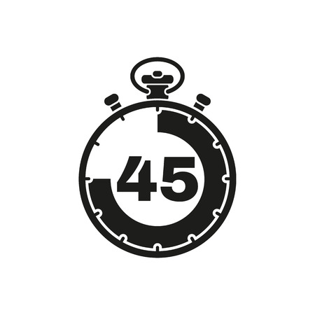 The 45 seconds, minutes stopwatch icon. Clock and watch, timer, countdown symbol. UI. Web. . Sign. Flat design. App. Stock vector Vectores