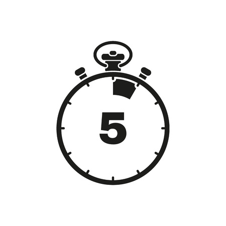 The 5 seconds, minutes stopwatch icon. Clock and watch, timer, countdown symbol. UI. Web. . Sign. Flat design. App. Stock vector Illustration