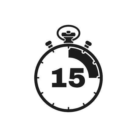The 15 seconds, minutes stopwatch icon. Clock and watch, timer, countdown symbol. UI. Web. . Sign. Flat design. App. Stock vector