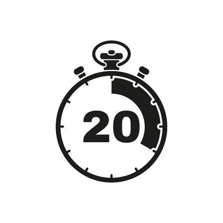 Ikona stopera 20 sekund i minut. Zegar i zegarek, minutnik, symbol odliczania. interfejs użytkownika. Sieć. . Podpisać. Płaska konstrukcja. Aplikacja. Wektor zapasowy