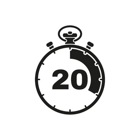 The 20 seconds, minutes stopwatch icon. Clock and watch, timer, countdown symbol. UI. Web. . Sign. Flat design. App. Stock vector Ilustracja
