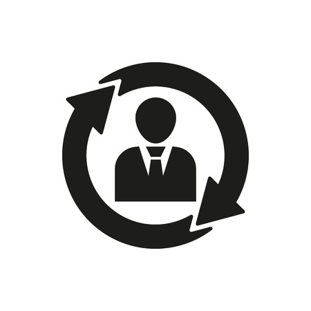 jerarquia: The human resources icon. Management and rotation, partnership, communication symbol. UI. Web. . Sign. Flat design. App. Stock vector Vectores