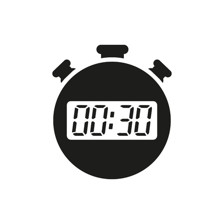The 30 seconds, minutes stopwatch icon. Clock and watch, timer, countdown symbol. UI. Web. . Sign. Flat design. App. Stock vector