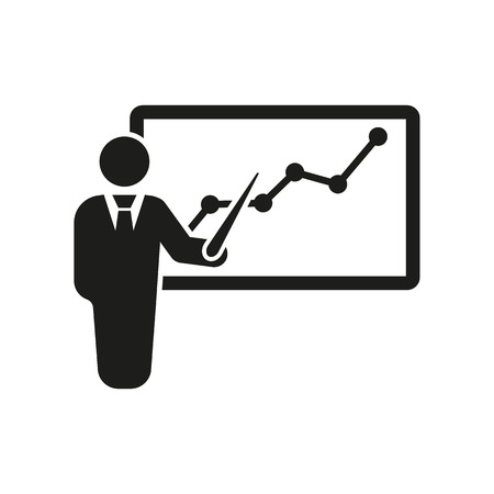 lectures: The staff training icon. Presentation and lectures, presentations, workshops, seminar symbol. UI. Web. . Sign. Flat design. App. Stock vector Illustration