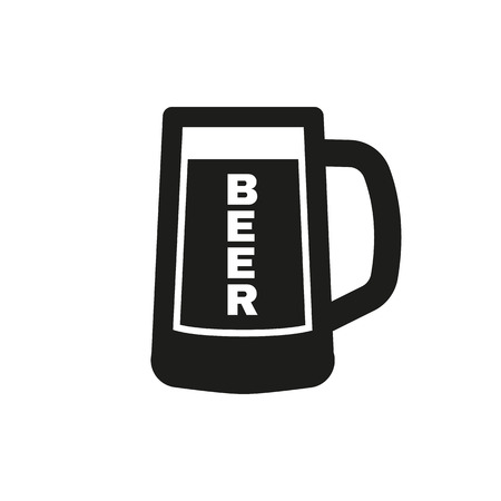 beers: Glass of beer icon. Beer and pub, bar symbol. UI. Web. . Sign. Flat design. App.Stock vector Illustration