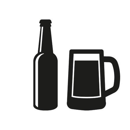 beers: Bottle and glass of beer icon. Beer and pub, bar symbol. UI. Web. . Sign. Flat design. App.Stock vector Illustration