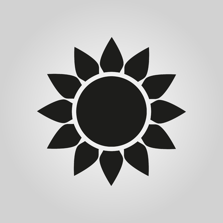 The sun icon. Sunrise and sunshine, weather symbol. UI. Web. . Sign. Flat design. App. Stock vector Illustration