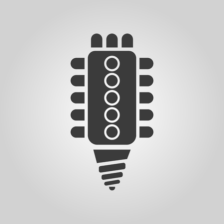 compact fluorescent lightbulb: The led lamp icon. Lamp and bulb, lightbulb, CFL, luminodiode symbol.UI. Web. . Sign. Flat design. App. Stock vector