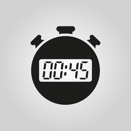 The 45 seconds, minutes stopwatch icon. Clock and watch, timer, countdown symbol. UI. Web. . Sign. Flat design. App. Stock vector Ilustração