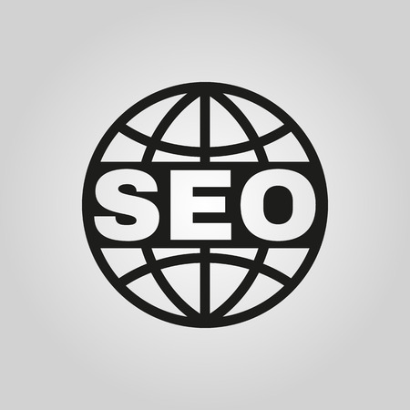 The SEO icon. WWW and browser, development symbol. UI. Web. . Sign. Flat design. App. Stock vector Illustration