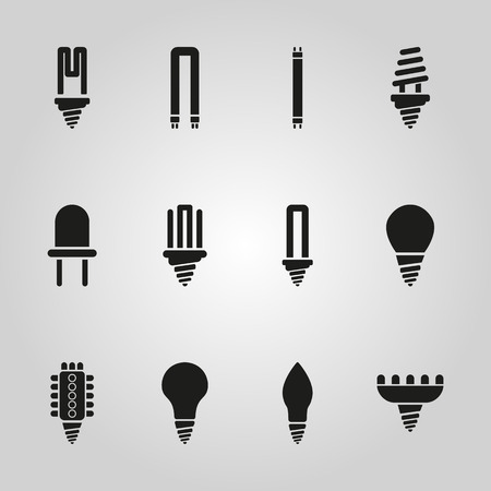 compact fluorescent lightbulb: The light bulb icon, set of 12 icons. Lamp and bulb, lightbulb symbol.UI. Web. . Sign. Flat design. App. Stock vector
