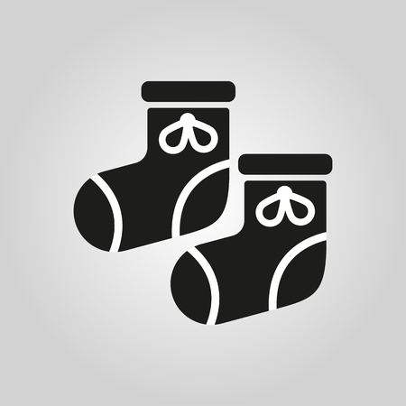 bootees: Babys bootees icon. design. Socks, sox symbol. web. graphic. AI. app. . object. flat. image. sign. eps. art. picture - stock vector