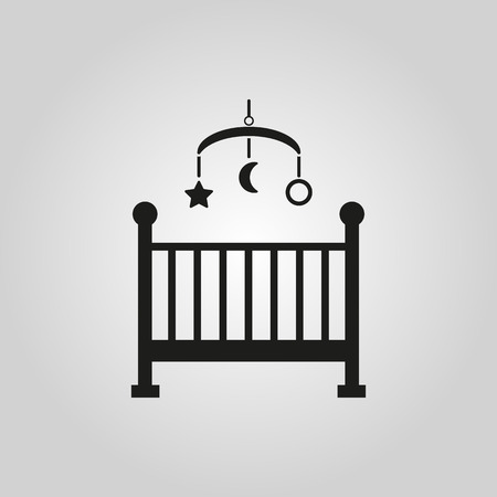 Childrens bed icon. Baby bed design. Cradle and home, nurse symbol. web. graphic. AI. app. . object. flat. image. sign. eps. art. picture - stock vector