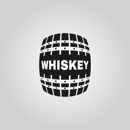 The whiskey icon. Cask and keg, alcohol symbol. UI. Web. . Sign. Flat design. App. Stock vector Vectores