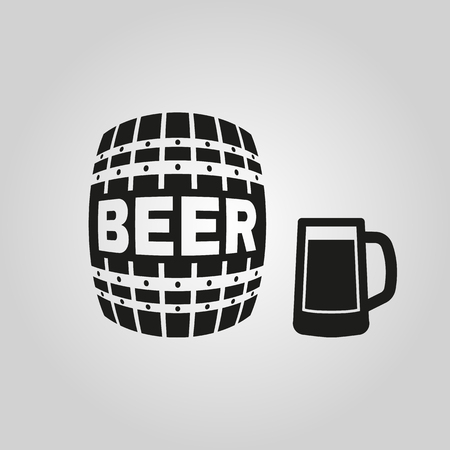 cask: Keg and glass of beer icon. Cask and barrel, alcohol symbol. UI. Web. . Sign. Flat design. App. Stock vector