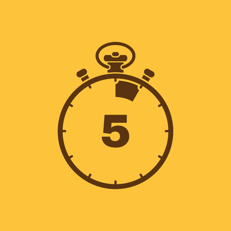 The 5 seconds, minutes stopwatch icon. Clock and watch, timer, countdown, stopwatch symbol. UI. Web. Logo. Sign. Flat design. App. Stock vector Illustration