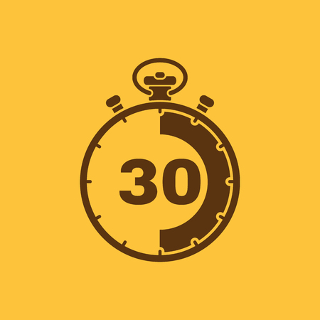 seconds: The 30 seconds, minutes stopwatch icon. Clock and watch, timer, countdown, stopwatch symbol. UI. Web. Logo. Sign. Flat design. App. Stock vector Illustration