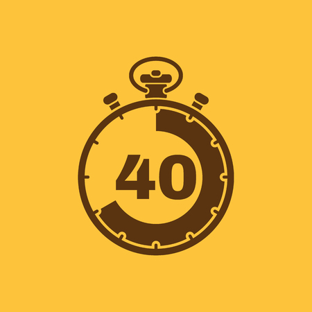 The 40 seconds, minutes stopwatch icon. Clock and watch, timer, countdown, stopwatch symbol. UI. Web. Logo. Sign. Flat design. App. Stock vector Illustration
