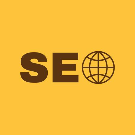 The SEO icon. WWW and browser, development, seo symbol. UI. Web. Logo. Sign. Flat design. App. Stock vector Illustration