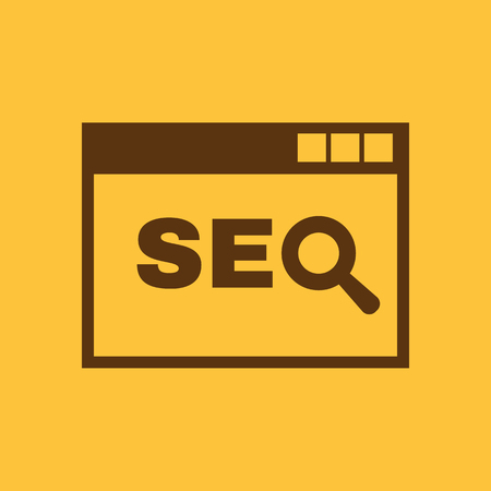 The SEO icon. WWW and browser, development, search, SEO symbol. UI. Web. Logo. Sign. Flat design. App. Stock vector 일러스트