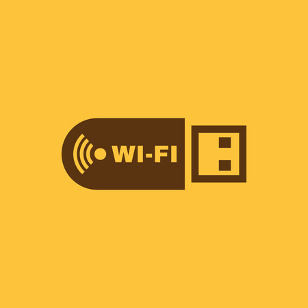 storage compartment: The wifi adapter icon. Transfer and connection, data, wifi symbol. UI. Web. Logo. Sign. Flat design. App. Stock vector