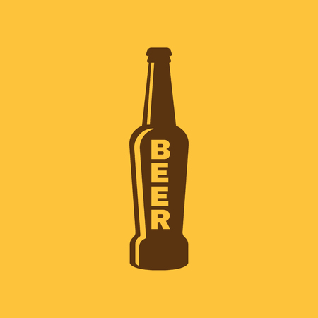 Bottle of beer icon. Beer and pub, bar symbol. UI. Web. Logo. Sign. Flat design. App.Stock vector
