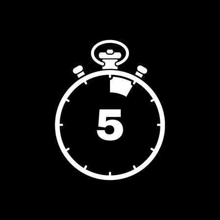 The 5 seconds, minutes stopwatch icon. Clock and , timer, countdown, stopwatch symbol. UI. Web. . Sign. Flat design. App. Stock vector