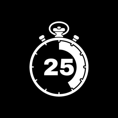 Los 25 segundos, minutos de cronómetro icono. Reloj y el reloj, cronómetro, cuenta atrás, cronómetro símbolo. UI. Web. . Firmar. Diseño plano. App. Stock vector Ilustración de vector