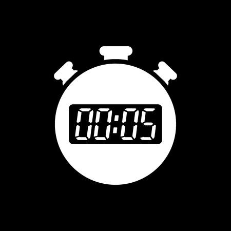 Los 5 segundos, minutos de cronómetro icono. Reloj y el reloj, cronómetro, cuenta atrás, cronómetro símbolo. UI. Web. . Firmar. Diseño plano. App. Stock vector