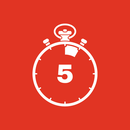 The 5 seconds, minutes stopwatch icon. Clock and watch, timer, countdown, stopwatch symbol. UI. Web. . Sign. Flat design. App. Stock vector