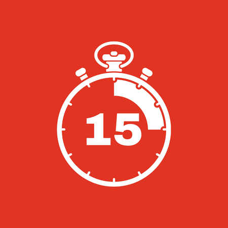 seconds: The 15 seconds, minutes stopwatch icon. Clock and watch, timer, countdown, stopwatch symbol. UI. Web. . Sign. Flat design. App. Stock vector Illustration