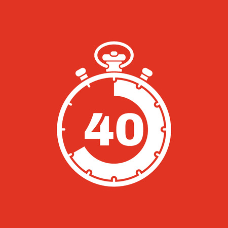 countdown: The 40 seconds, minutes stopwatch icon. Clock and watch, timer, countdown, stopwatch symbol. UI. Web. . Sign. Flat design. App. Stock vector