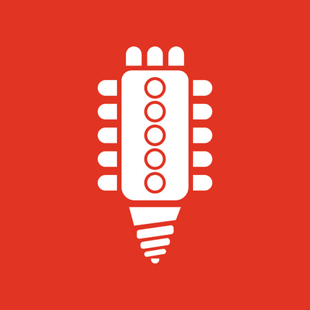 led lamp: The led lamp icon. Lamp and bulb, lightbulb, CFL, luminodiode symbol.UI. Web. . Sign. Flat design. App. Stock vector