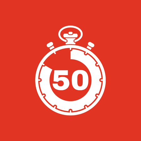 seconds: The 50 seconds, minutes stopwatch icon. Clock and watch, timer, countdown, stopwatch symbol. UI. Web. Logo. Sign. Flat design. App. Stock vector Illustration