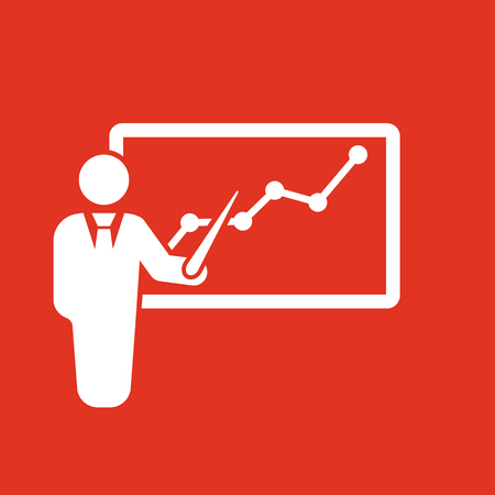 ceo office: The Presentation icon. Presentation and lectures, presentations, workshops, seminar, staff training symbol. UI. Web. Logo. Sign. Flat design. App. Stock vector Illustration