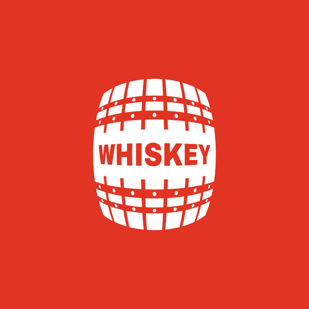 winemaking: The whiskey icon. Cask and keg, alcohol, whiskey symbol. UI. Web. Logo. Sign. Flat design. App. Stock vector