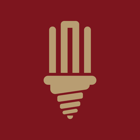 fluorescent light: The fluorescent light bulb icon. Lamp and bulb, lightbulb symbol.UI. Web. Logo. Sign. Flat design. App. Stock vector
