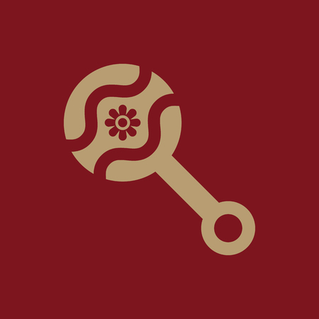 clack: Beanbag icon. design. Rattle and maraca, clack, Beanbag symbol. web. graphic. AI. app. logo. object. flat. image. sign. eps. art. picture - stock vector