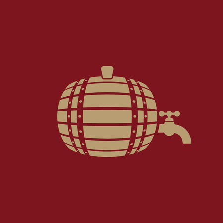 winemaking: The Barrel icon. Cask and keg, beer, Barrel symbol. UI. Web. Logo. Sign. Flat design. App. Stock vector
