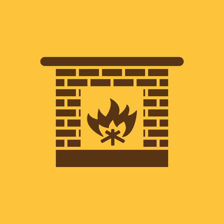 Fireplace icon. Hearth and chimney, fire, mantelpiece, heat symbol. Flat design. Stock - Vector illustration