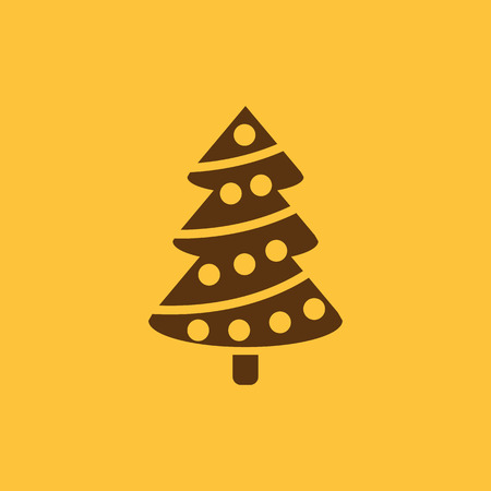 Christmas tree icon. New year and xmas, christmas, winter symbol. Flat design. Stock - Vector illustration.