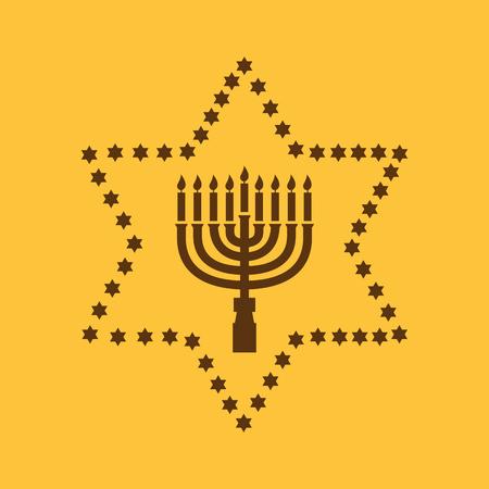 Hanukkah, David star, Jewish holiday symbol. Flat design Stock - Vector