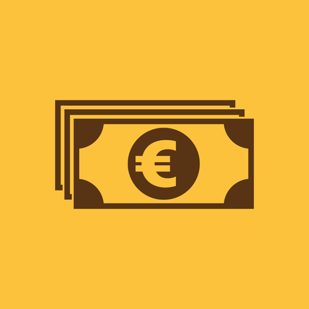 Money icon. Euro and cash, coin, bank symbol. Flat design. Stock - Vector illustration