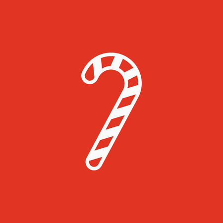 Candy cane icon. New year and xmas, christmas, winter symbol. Flat design. Stock - Vector illustration Çizim
