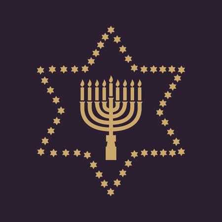 Hanukkah, David star, Jewish holiday symbol. Flat design. Stock - Vector illustration