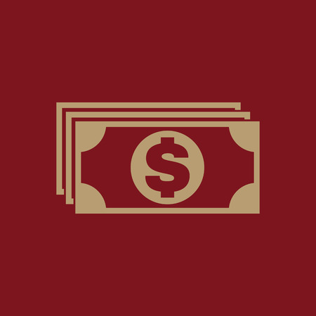 Money icon. Dollar and cash, coin, currency, bank symbol. Flat design Stock - Vector illustration