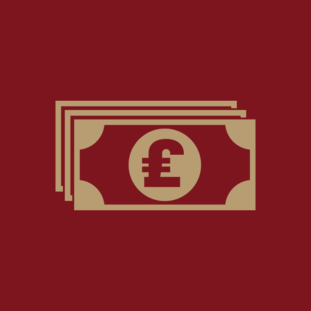 Money icon. Pound sterling and cash, coin, currency, bank symbol. Flat design. Stock - Vector illustration Illustration