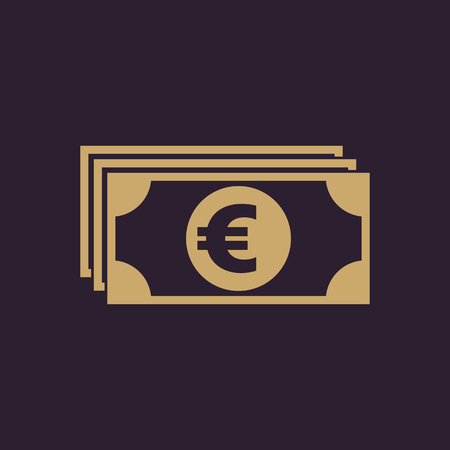 Money icon. Euro and cash, coin, currency, bank symbol. Flat design Stock - Vector illustration